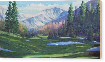 Wood Print featuring the painting Spring Colors In The Rockies by Billie Colson