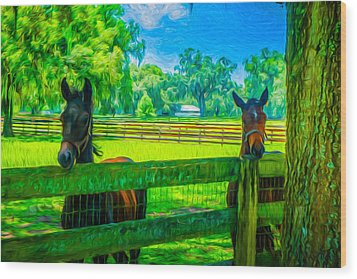 Wood Print featuring the painting Spring Colts by Louis Ferreira
