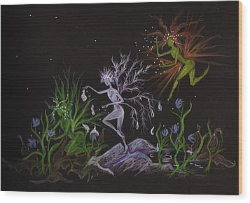 Wood Print featuring the drawing Spring Conflicts by Dawn Fairies