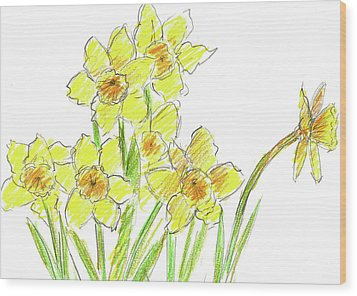 Wood Print featuring the painting Spring Daffodils by Cathie Richardson