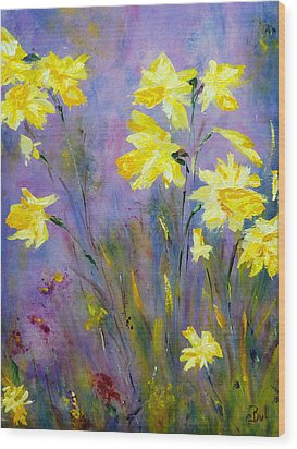 Spring Daffodils Wood Print by Claire Bull