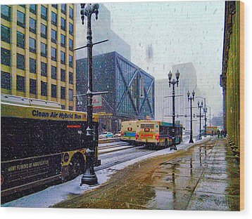 Spring Day In Chicago Wood Print by Dave Luebbert