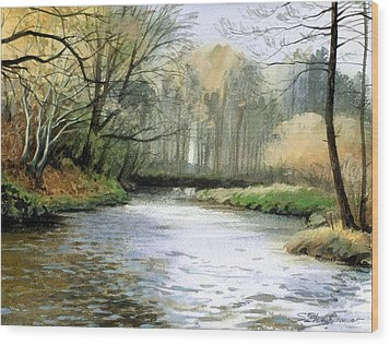 Wood Print featuring the painting Spring Day On A River by Sergey Zhiboedov