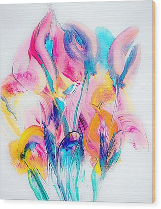 Spring Floral Abstract Wood Print
