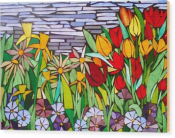 Spring Floral Mosaic Wood Print