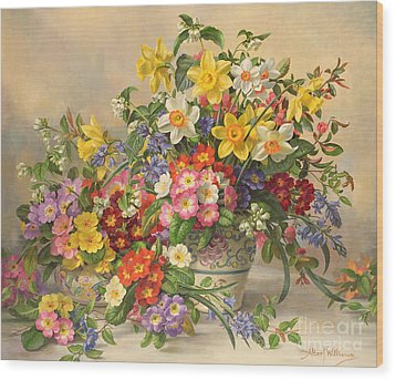 Spring Flowers And Poole Pottery Wood Print by Albert Williams