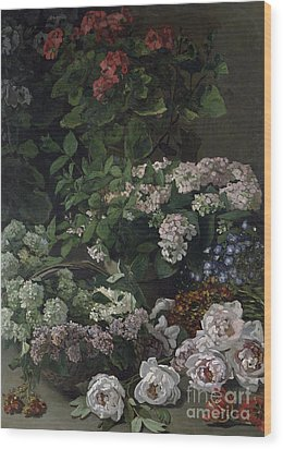 Spring Flowers Wood Print by Claude Monet