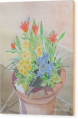 Spring Flowers In Pot Wood Print by Yvonne Johnstone