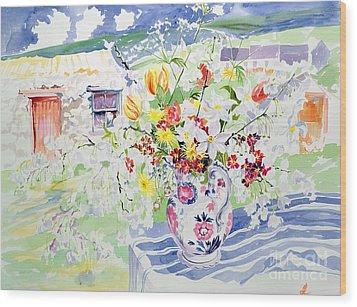 Spring Flowers On The Island Wood Print by Elizabeth Jane Lloyd