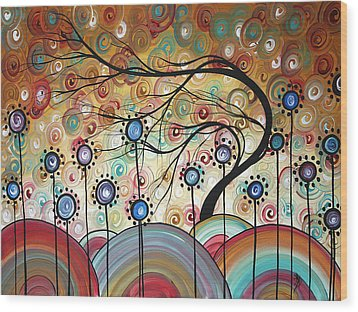 Spring Flowers Original Painting Madart Wood Print by Megan Duncanson