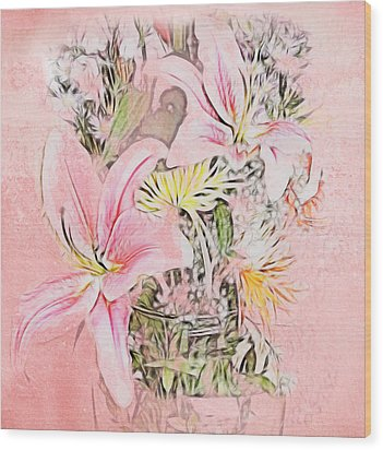 Spring Fowers With Vase Wood Print