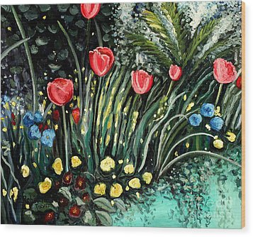 Wood Print featuring the painting Spring Garden by Elizabeth Robinette Tyndall