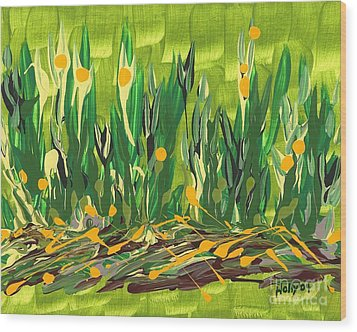 Wood Print featuring the painting Spring Garden by Holly Carmichael