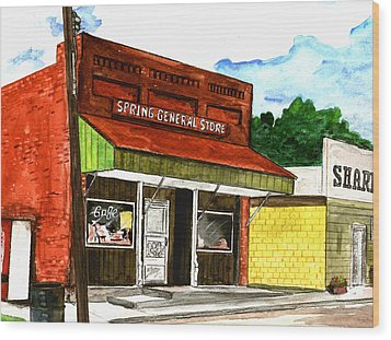 Spring General Store Sharpsburgh Iowa Wood Print by Kevin Callahan