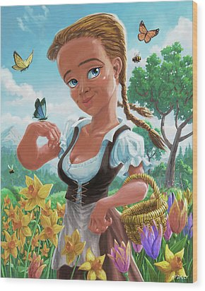 Wood Print featuring the digital art Spring Girl by Martin Davey