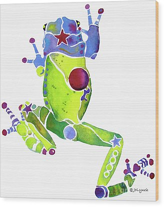 Spring Green Frog Wood Print by Jo Lynch