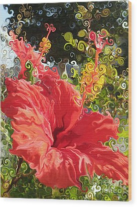 Spring Hibiscus Wood Print