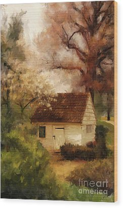 Wood Print featuring the digital art Spring House In The Spring by Lois Bryan