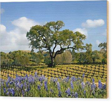Spring In The Vineyard Wood Print by Kurt Van Wagner