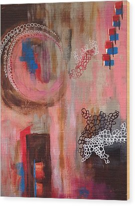 Wood Print featuring the painting Squiggles And Wiggles # 4 by Suzzanna Frank