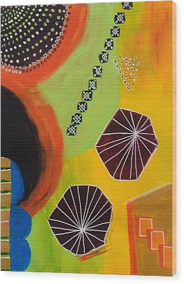 Wood Print featuring the painting Squiggles And Wiggles #5 by Suzzanna Frank
