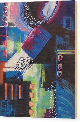 Wood Print featuring the painting Squiggles And Wiggles #6 by Suzzanna Frank