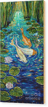 Wood Print featuring the painting Spring Koi by Linda Olsen