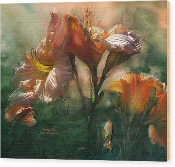 Spring Lilies Wood Print by Carol Cavalaris
