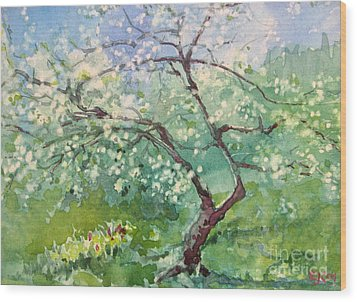 Wood Print featuring the painting Spring Plum by Elizabeth Carr
