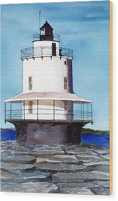 Spring Point Ledge Light Wood Print by Anne Trotter Hodge