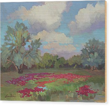 Wood Print featuring the painting Spring Poppies by Diane McClary