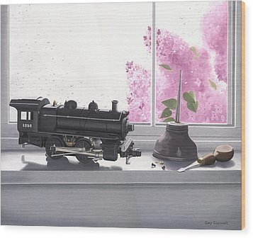 Wood Print featuring the painting Spring Rain  Electric Train by Gary Giacomelli