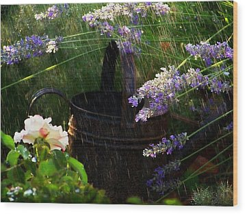 Spring Rain Wood Print by Marika Evanson