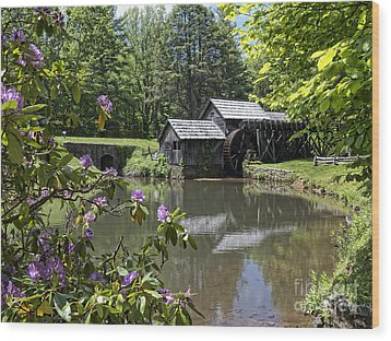 Spring Reflections Of An Ancient Mill Wood Print