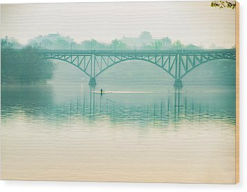 Wood Print featuring the photograph Spring - Rowing Under The Strawberry Mansion Bridge by Bill Cannon
