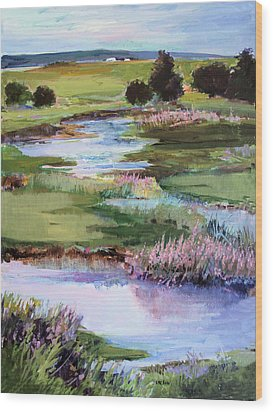 Wood Print featuring the painting Spring Runoff by Diane Ursin
