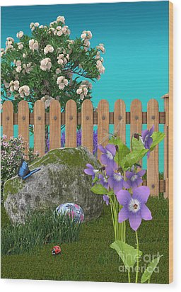 Wood Print featuring the digital art Spring Scene by Mary Machare