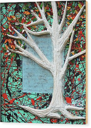 Wood Print featuring the painting Spring Serenade With Tree by Genevieve Esson
