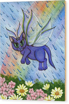 Spring Showers Fairy Cat Wood Print by Carrie Hawks