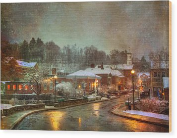 Spring Snow In Peterborough Nh Wood Print