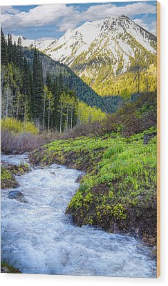 Spring Snow Melt Wasatch Mountains Utah Wood Print by Utah Images