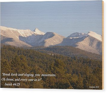 Wood Print featuring the photograph Spring Snow On The Sangre De Cristos Truchas Peaks by Anastasia Savage Ealy