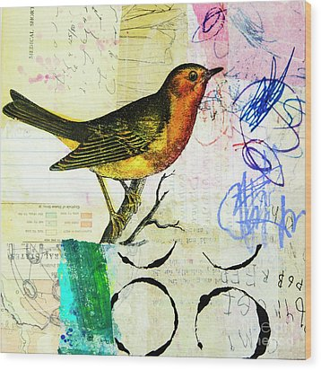 Wood Print featuring the mixed media Spring Song by Elena Nosyreva