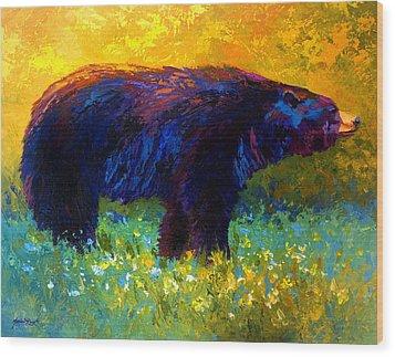 Spring Stroll - Black Bear Wood Print by Marion Rose
