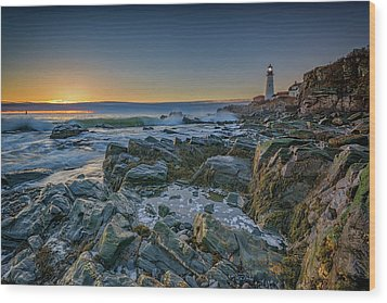 Wood Print featuring the photograph Spring Sunrise At Portland Head by Rick Berk