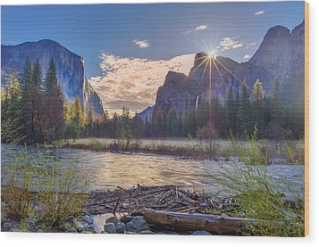 Wood Print featuring the photograph Spring Sunrise At Yosemite Valley by Scott McGuire