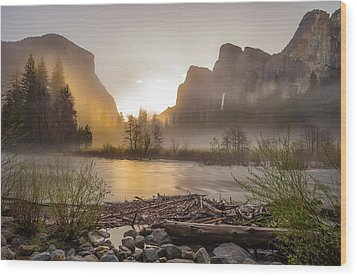 Wood Print featuring the photograph Spring Sunrise Valley View Yosemite National Park  by Scott McGuire