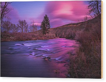 Wood Print featuring the photograph Spring Sunset Along The Truckee River Reno Nevada by Scott McGuire