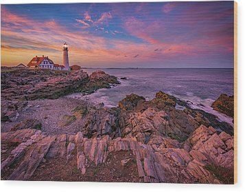 Spring Sunset At Portland Head Lighthouse Wood Print by Rick Berk