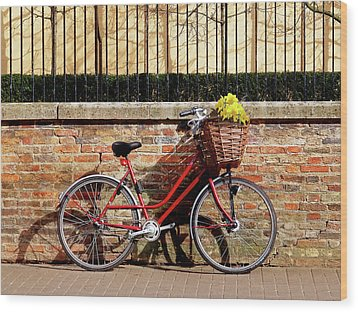 Wood Print featuring the photograph Spring Sunshine And Shadows - Bicycle In Cambridge by Gill Billington